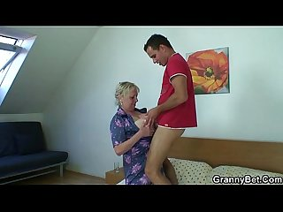 Naughty granny takes fresh cock