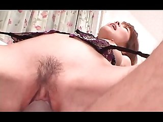 Japanese redhead slut pussy drilled hardcore in close up