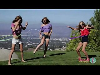 3 girls get naked and play sports outside