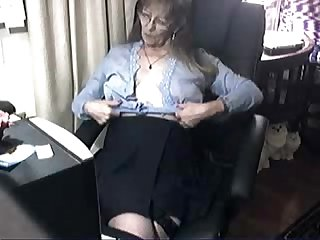 Pervert cute granny having fun at computer period Amateur