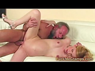 Hairy old dude fucks petite blonde ass