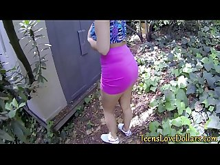Paid teen spunked in pov