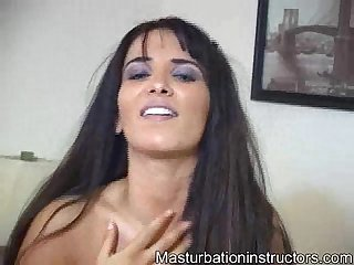 Jerk off teacher displays her big tits as she teases you to masturbate