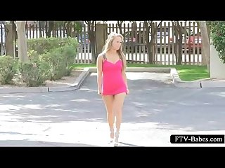 Teen blonde sex doll walking naked outdoor