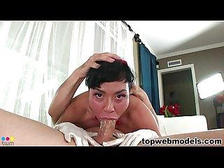 Mahina zaltana shows her deepthroat skills
