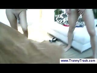 Tranny shows girl how to ride a dick