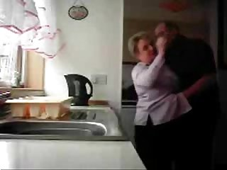 Mum and dad home alones having fun in the kitchen period hidden cam