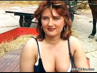 Chubby milf enjoying in hot country