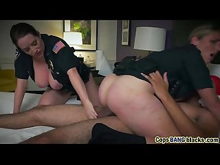 Cops riding big black dong face sitting threesome