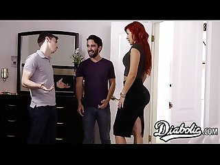 Busty redhead gets doggystyled roughly by husbands friend