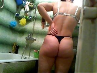 Esposa no banheiro rabo enorme