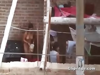 indian girl naked outdoor bath