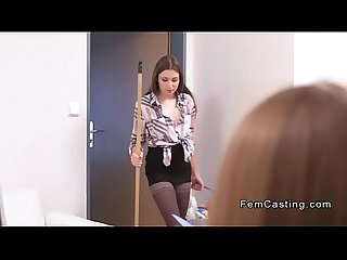 Lesbian female agent bangs cleaning lady