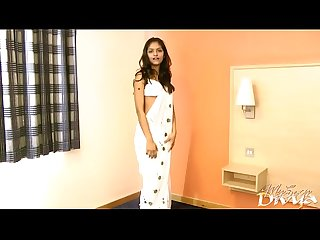 Gujarati indian college girl divya in white pearl Sari striptease show