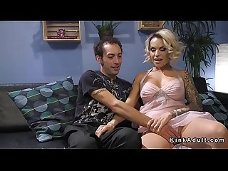 Tranny in see through dress fucks guy