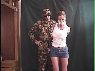 Amber michaels bound gagged tormented by Military villain