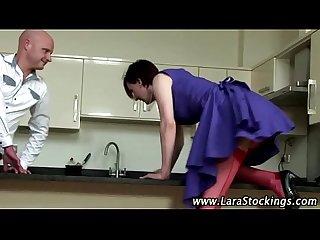 Nasty mature stockings slut gets eaten out