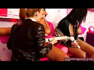 Big titted lesbos play with sex toys together