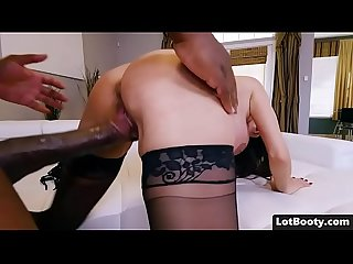 Big Ass brunette busty milf interracial doggystyle fucked