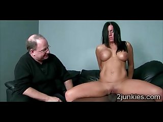 Stunning brunette milf mounts black dick in front of husband