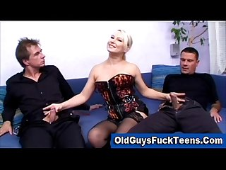 Blonde in stockings sucking and Fucking two old men