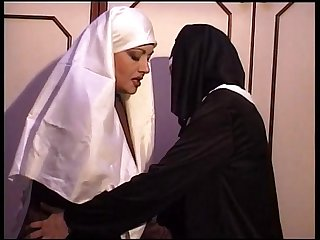 Jessica Rizzo nun dressed has lesbian sex in a monastery