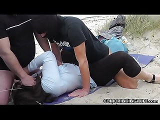 Beach gangbangs with naughty slutwife marion