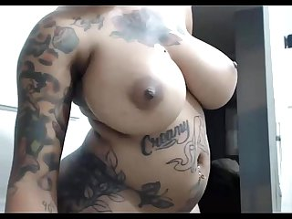 Beautiful tattooed ebony amatuer teasing on Webcam sexycams period ml