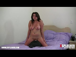 Busty milf cums hard on sybian Sex machine while grabbing her tits