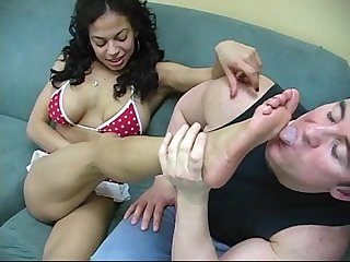 Interracial foot worship session