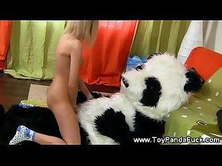 Teen Girl loves her toypanda stick
