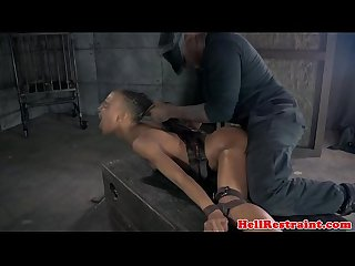 Caged ebony submissive facing maledoms wrath