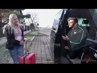 Takevan Stupid young blonde cheated by fake taxi driver and spread legs for him