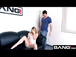 Bang casting blonde and sexy molly mae gives a good titty fuck