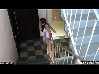 Casual Blowjob from a Neighbor Chubby Girl in the entrance of the Apartment with Vira Gold