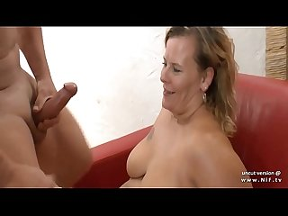 Amateur BBW french mature analyzed and facialized like a dog