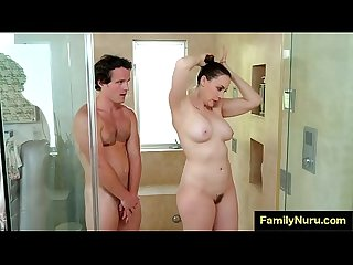 Stepmom massage sons dick under shower