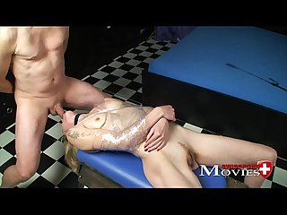 Blonde lady sandy experienced bondage fuck with 2 dicks