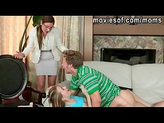 Blonde teen and her bf caught fucking by her stepmom