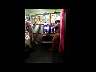 Desi village wife dance with her husband best friend in bra