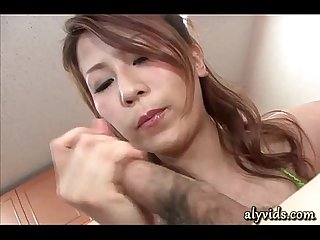 Horny Asian doing Handjob