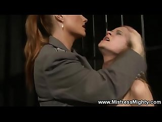 Caged lez slave humiliated and slapped
