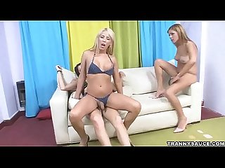 Three Sexy shemale babes having some Hot group Sex