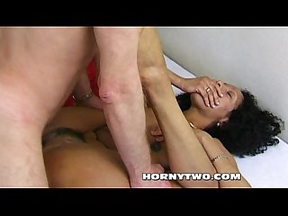 Beautiful Ebony MILF gets hard pussy pounding for big load of cum on pussy