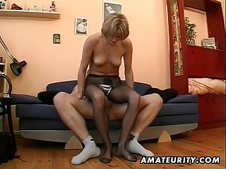 Hot amateur milf masturbates sucks and fucks with cum