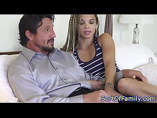 Ebony stepdaughter stripping for her stepdad