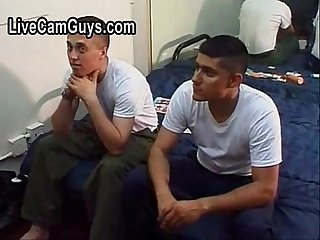 Straight military men groped