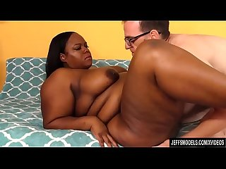 Black Plumper Olivia Leigh Diddles Her Twat Before Taking a White Cock