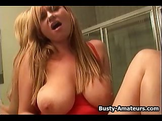 Busty violet masturbating her pussy in the bathroom
