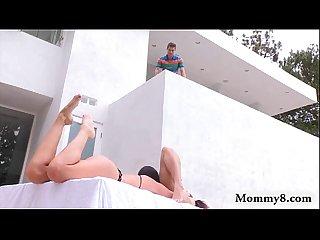 Nasty stepmom india summer hot threeway near the pool